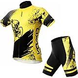 Lixada Homme Ensemble de Cycliste Maillot Velo Pantalon Rembourrées Cyclisme Vêtements de Cyclisme