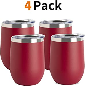 Jearey Stemless Wine Glass Tumbler 12 oz Stainless Steel Double Wall Vacuum Insulated Wine Cup with Lid Travel Friendly (4 Pack, Red)
