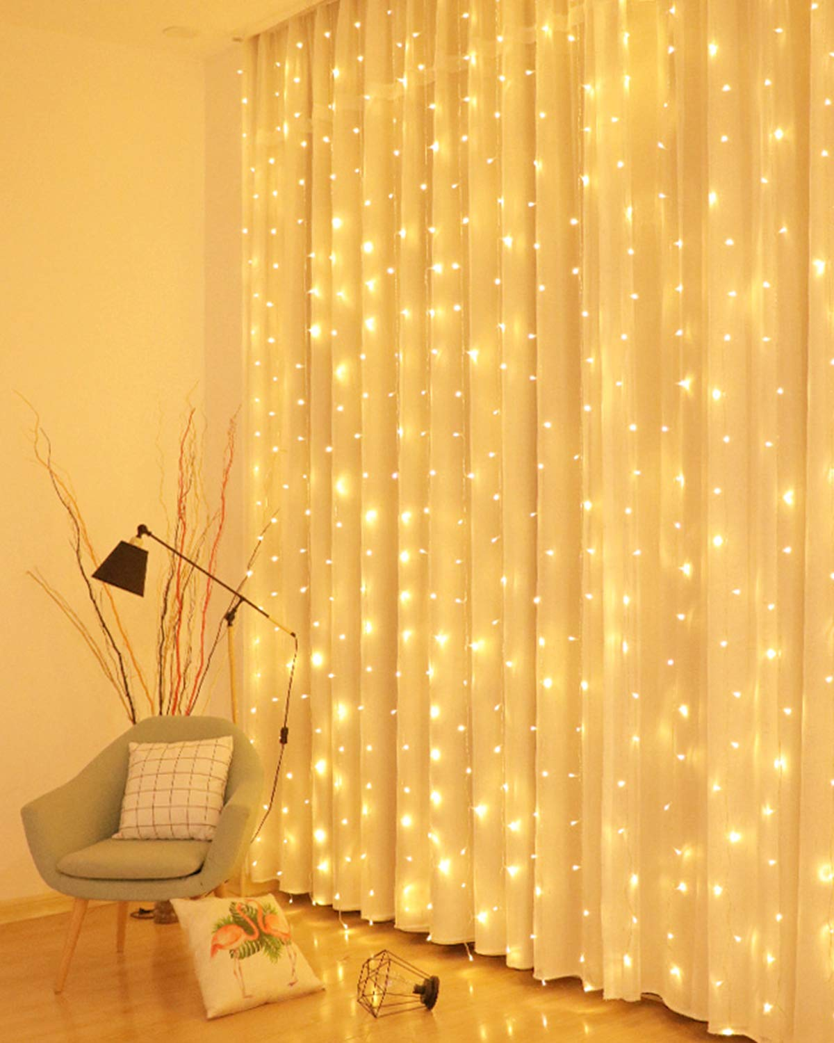 Litogo 300LED Curtain Lights, 3x3m Waterfall Fairy Lights 8 Modes USB Plug in Twinkle Wall Lights Hanging Window Silver Wire String Lights Indoor for Bedroom Wedding Xmas Party Birthday (Warm White)