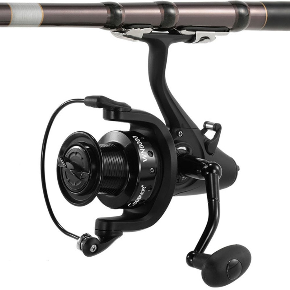 Lightweight Spinning Fishing Reel with Front and Rear Double Drag Brake System Baitrunner Reel 11+1 Stainless Steel Left Right Interchangeable Handle for Saltwater Freshwater Fishing Suitable for fishing zxcvlina