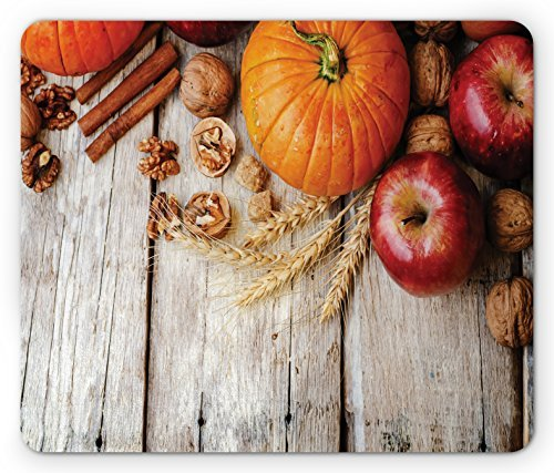 Fruits Mouse Pad Wood Background with Pumpkin Apples Wheat Honey Nuts Farmhouse Rural, Standard Size Rectangle Non-Slip Rubber Mousepad, Pale Brown Orange - Texas $25 Orange Optical