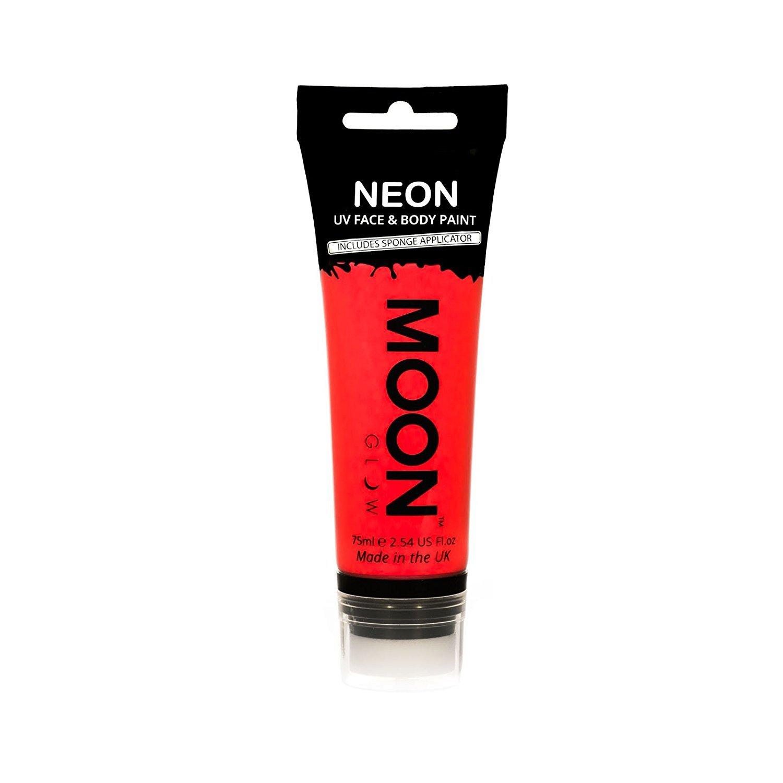 Moon Glow Supersize 75ml / 2.54oz Blacklight Neon UV Face & Body Paint - Intense Orange - with sponge applicator