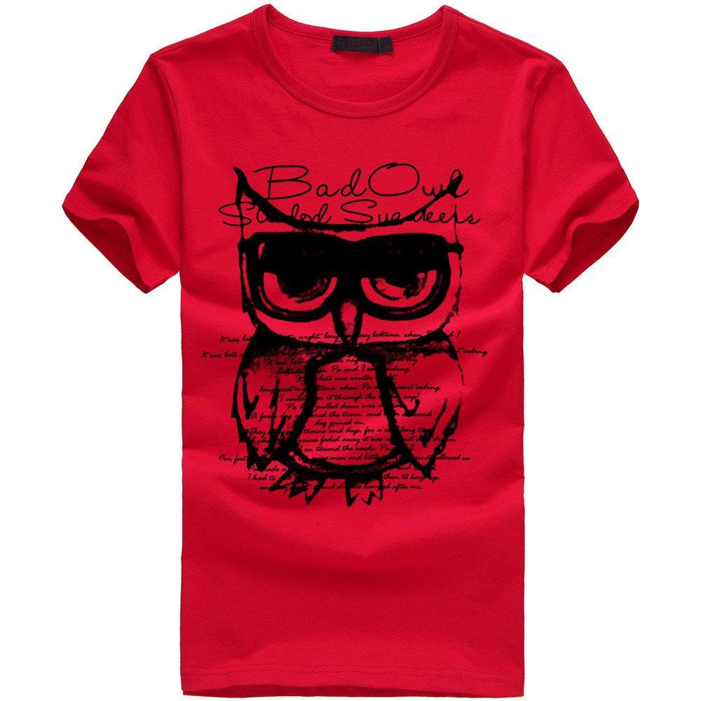 EOWEO Men's Short T-shirt Men Boy Printing Owl Tees Shirt Short Sleeve Cotton T Shirt Clothes RD/XL(X-Large,Red)