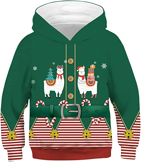 YIMIAO Kids Hoodies 3D Snowman Printed Christmas Boys Girls Pullover with Pockets Cool Animal Party