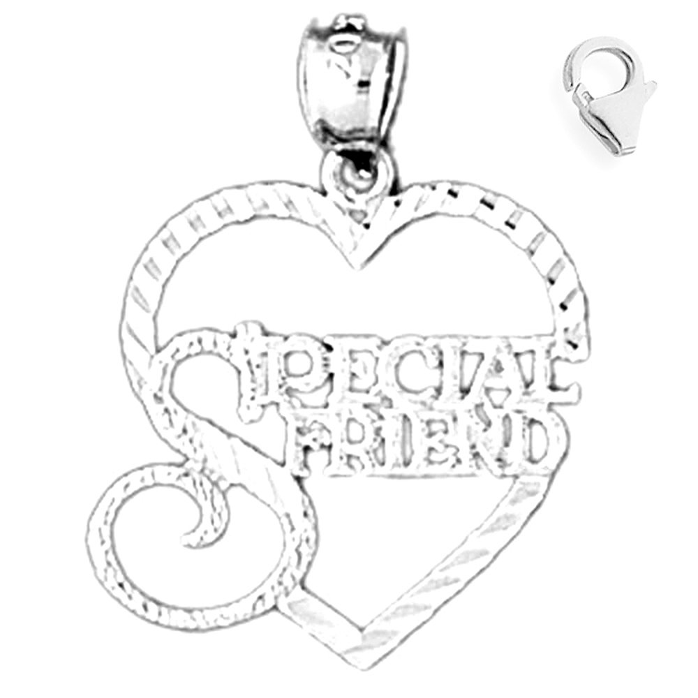 JewelsObsession Sterling Silver 26mm Special Friend Charm w//Lobster Clasp