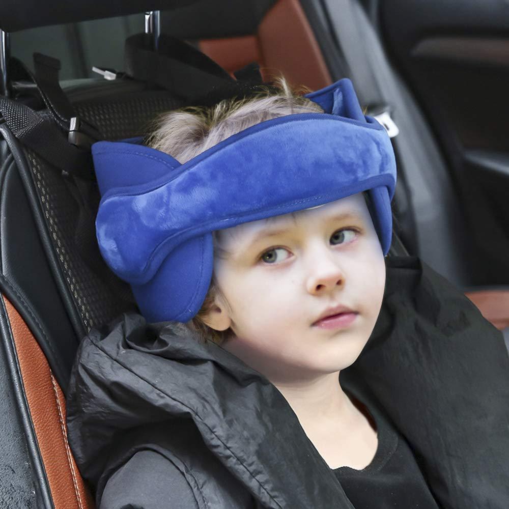 Cinghia auto per Bambini di Sicurezza Testa Protezioni Comfort Seggiolino auto Testa Dormire Cintura di sicurezza Blu