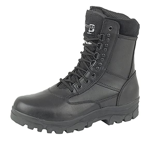 Hi-Leg Combat Boots With Steel Sole Protection. Police Security Army Cadet Safety Boots