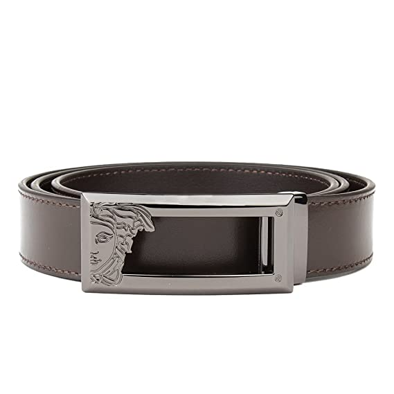 25d3ef2a Versace Collection Men's Medusa Steel Buckle Saffiano Leather Belt ...