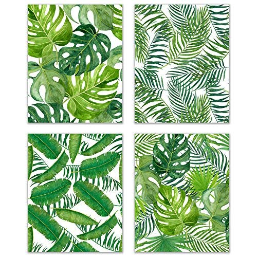 Banana Palm Wall Art - Tropical Nursery Set of 4 Watercolor Leaf 8x10 Poster Prints - Botanical Wall Art Kitchen Decor - Banana, Palm, Monstera Leaves