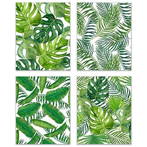 Tropical Nursery Set of 4 Watercolor Leaf 8x10 Poster Prints - Botanical Wall Art Kitchen Decor - Banana, Palm, Monstera Leaves