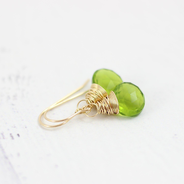 Bright Green Quartz Gold Fill Earrings