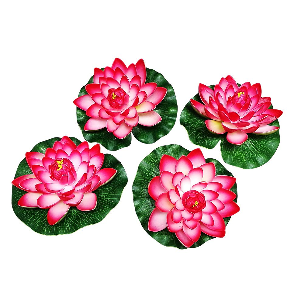 Amazon Nice 4pcs Large Artificial Red Floating Lotus Home