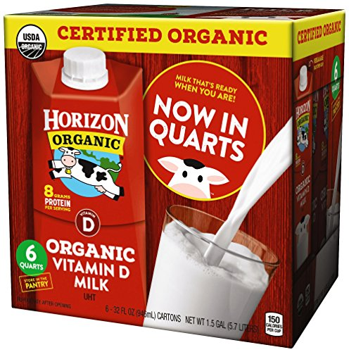 (Horizon Organic, Whole Organic Milk, 32 Ounce (Pack of 6), Shelf Stable Organic Whole Milk, 1 Quart Carton, Great for the Pantry, Carton Locks in Fresh Taste Without Refrigeration or Preservatives)