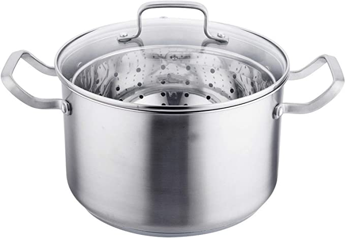 Cacerola Olla Duradera De La Categoría Alimenticia De Acero Inoxidable Multifunción Vapor Olla Con La Sopa De Residuos Separación Inicio Pot Esencial Utensilios de cocina para la cocina de inducción