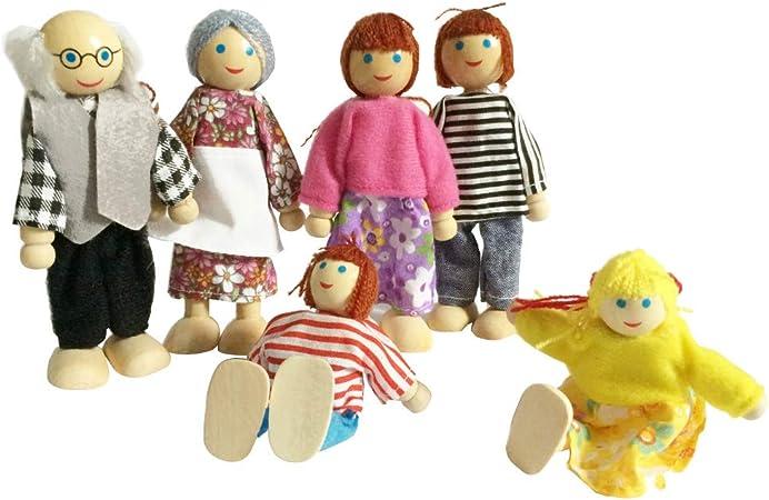 Mobilier en bois Maison de poupées Miniature de famille 7 personnes FR