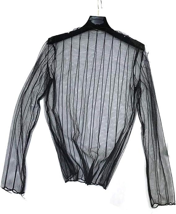 KINTRADE Camisa Entallada de Malla por Debajo de Encaje Rayas ...