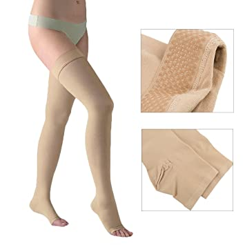 5afc47e766c4b1 DOTASI 23-32mmhg Compression Thigh High Open-toe Socks Graduated Support Prevent  Varicose Veins