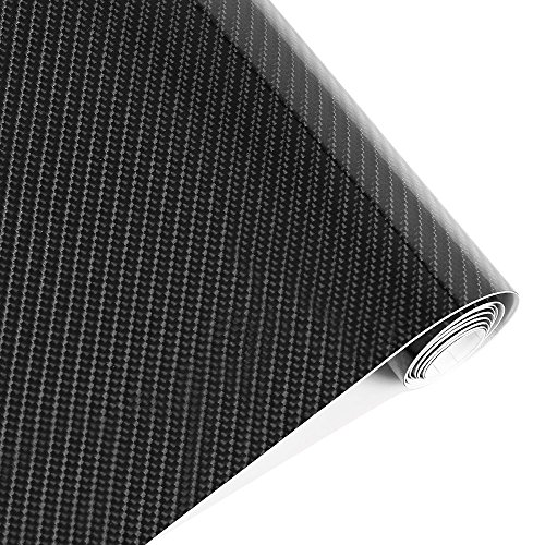 Karlor 5D Carbon Fiber Vinyl Car Wrap Film 5ft x 1ft Interior DIY Bubble Free Air Release High Glossy Black 12 Inch x 60 Inch ()