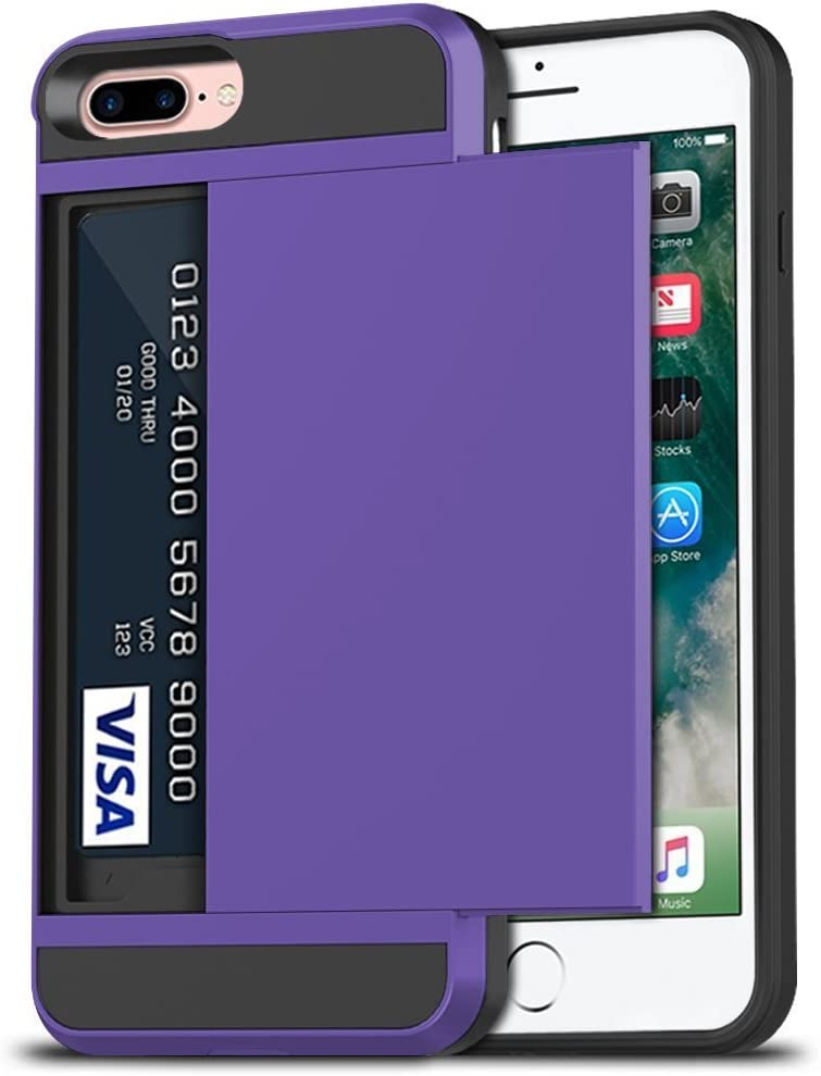 Anuck iPhone 7 Plus Case, iPhone 8 Plus Case, Shockproof iPhone 7/8 Plus Wallet Case [Card Pocket][Slide Cover] Anti-Scratch Protective Shell Armor Rubber Bumper Case with Card Slot Holder - Lavender