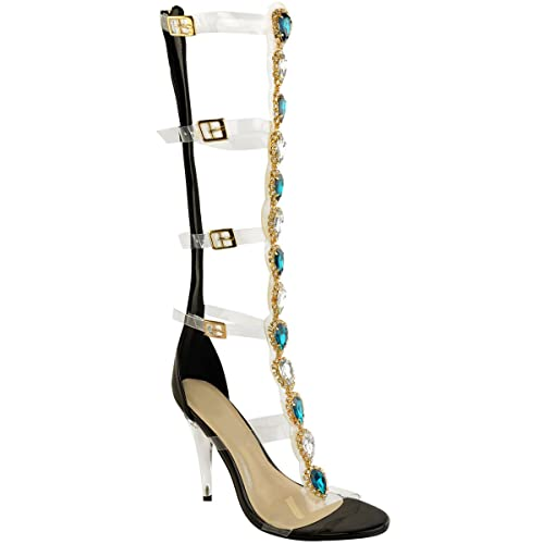 04af5a6337d Fashion Thirsty Womens Perspex Diamante Party Sandals Knee High Jewel  Embellished Gladiator Size  Amazon.co.uk  Shoes   Bags