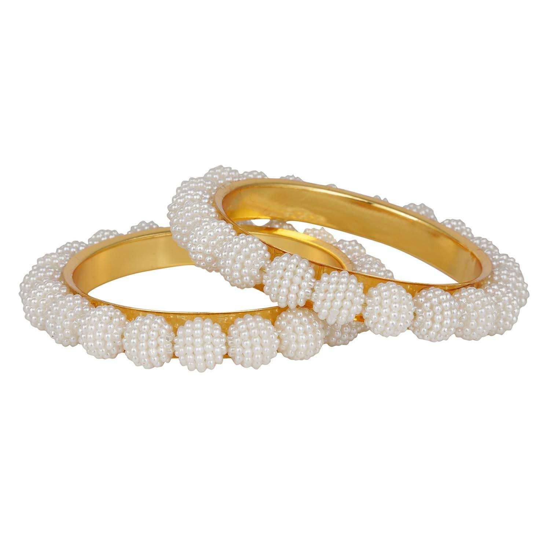 Efulgenz Fashion Jewelry Indian Bollywood 14 K Gold Plated Faux Pearl Beaded Bracelets Bridal Bangle Set (2 Pieces) for Women by Efulgenz (Image #1)