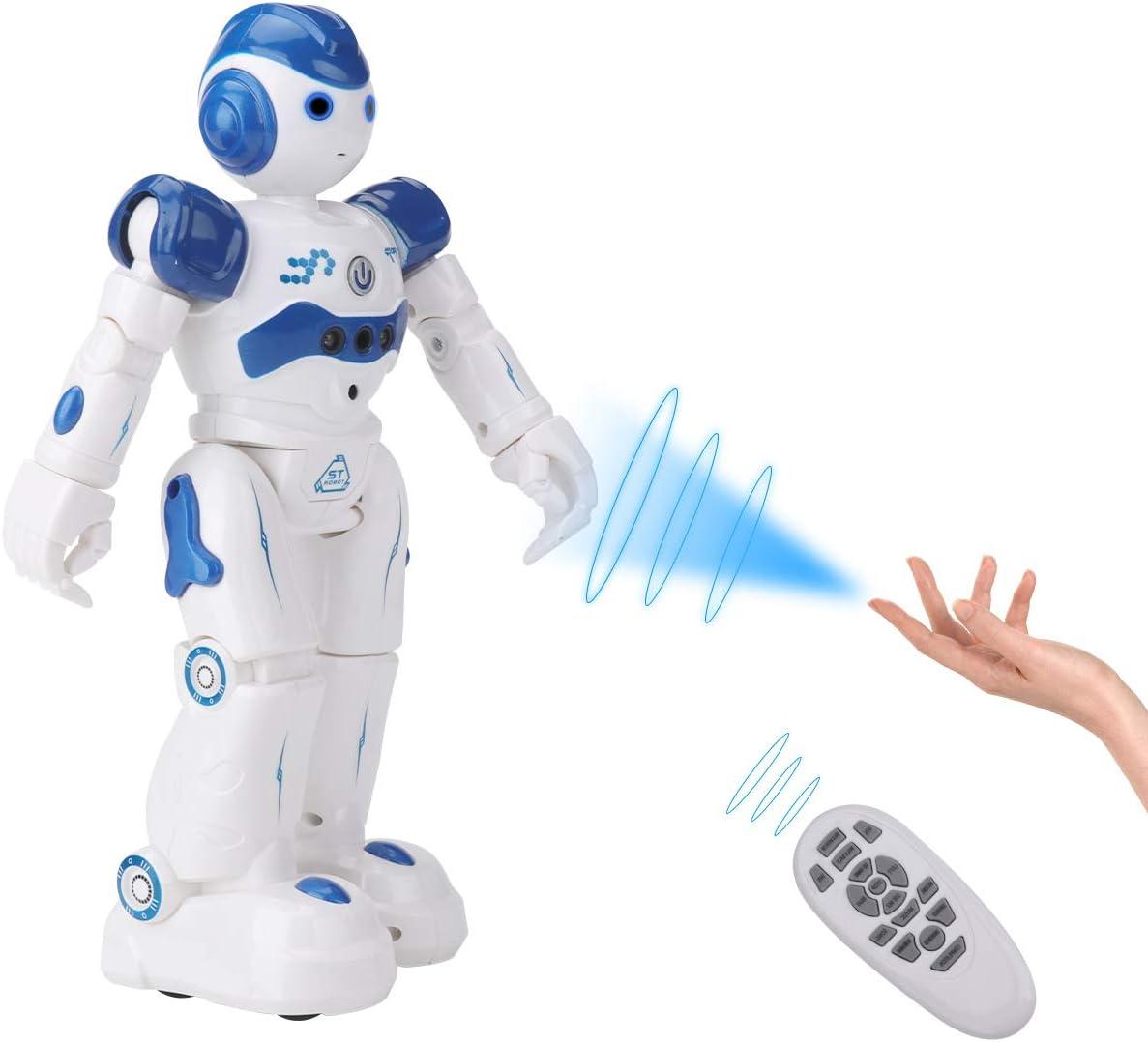 SUNCLAY Robot Juguete, Programable Juguete Educativos, Radiocontrol y Gesto Control Robot, Múltiples Funciones para Cantar Bailar y Aprender, Imita la Voz, Ideales para niños (Azul)