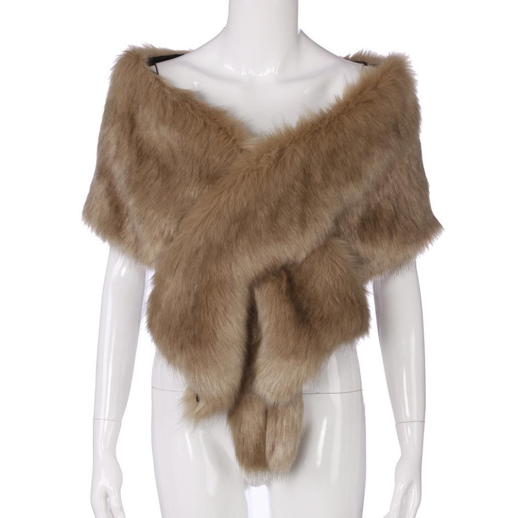 Qisc Faux Fur Wrap Shawl Shrug Bridal Faux Fur Jacket Coat Shawls Stole Lady Gift by (Free Size, Khaki)