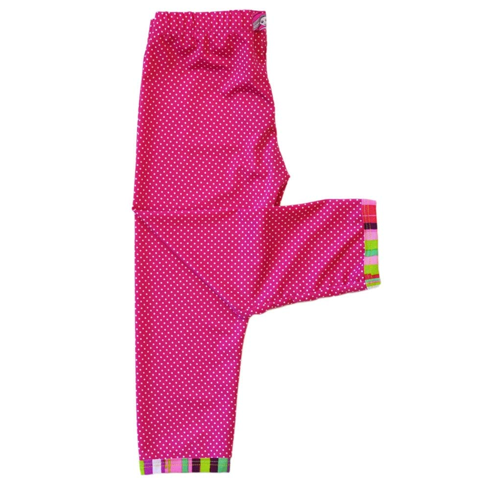 TwirlyGirl Little Girls Leggings Capri Style Fun Soft Pink with Dots USA Made