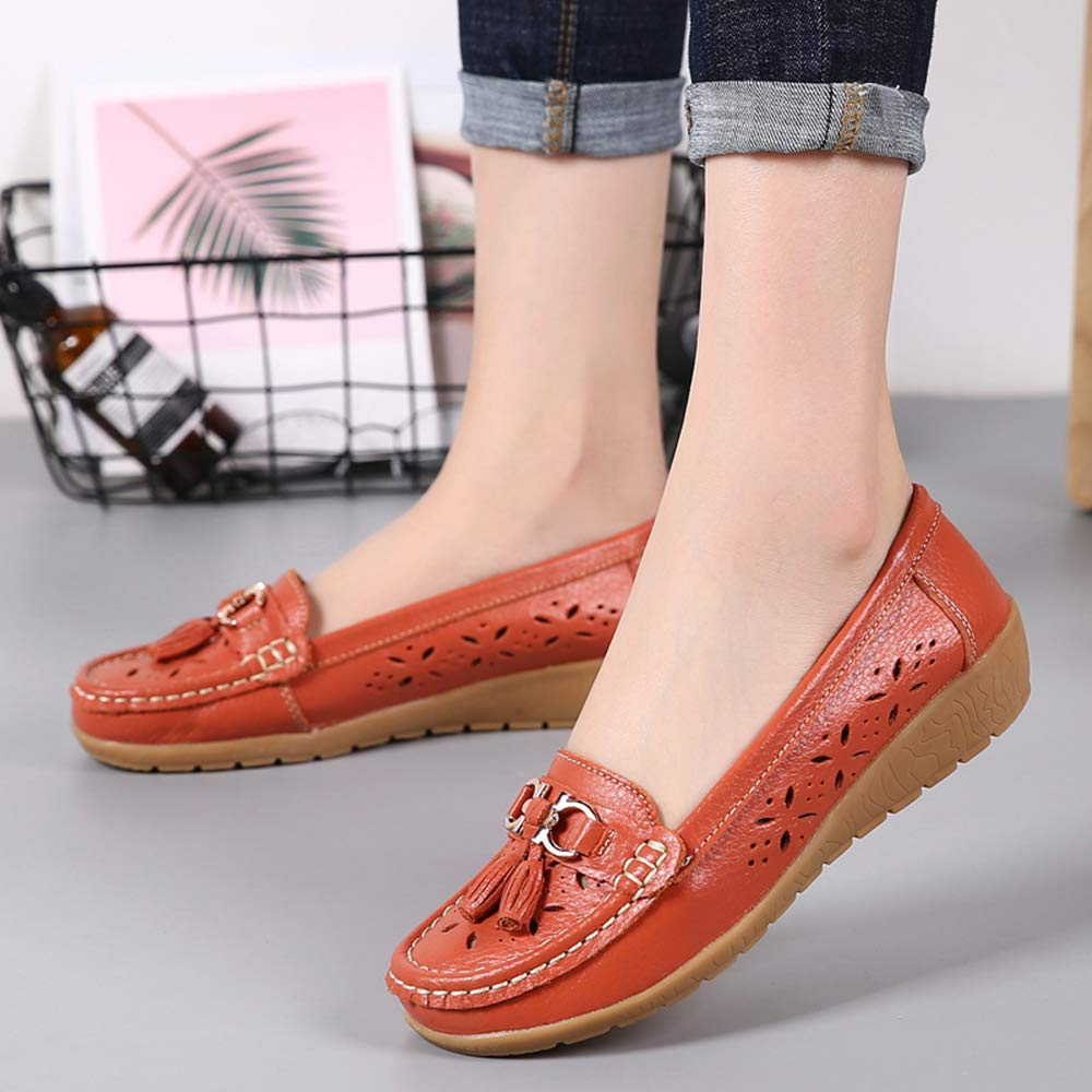 Women Loafers Leather Oxford Slip On Walking Flats Anti-Skid Boat Shoes