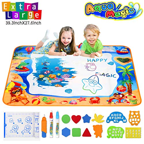 Water Doodle Mats Multicolor Drawing Mat Sea World Large Size 39.3 x 27.6 Inch Educational Learning Birthday Toys Gifts for 2 3 4 Years Old Girls Boys Tolddlers Kids 3 Pens 8 Molds 4 Templates 1 Book ()