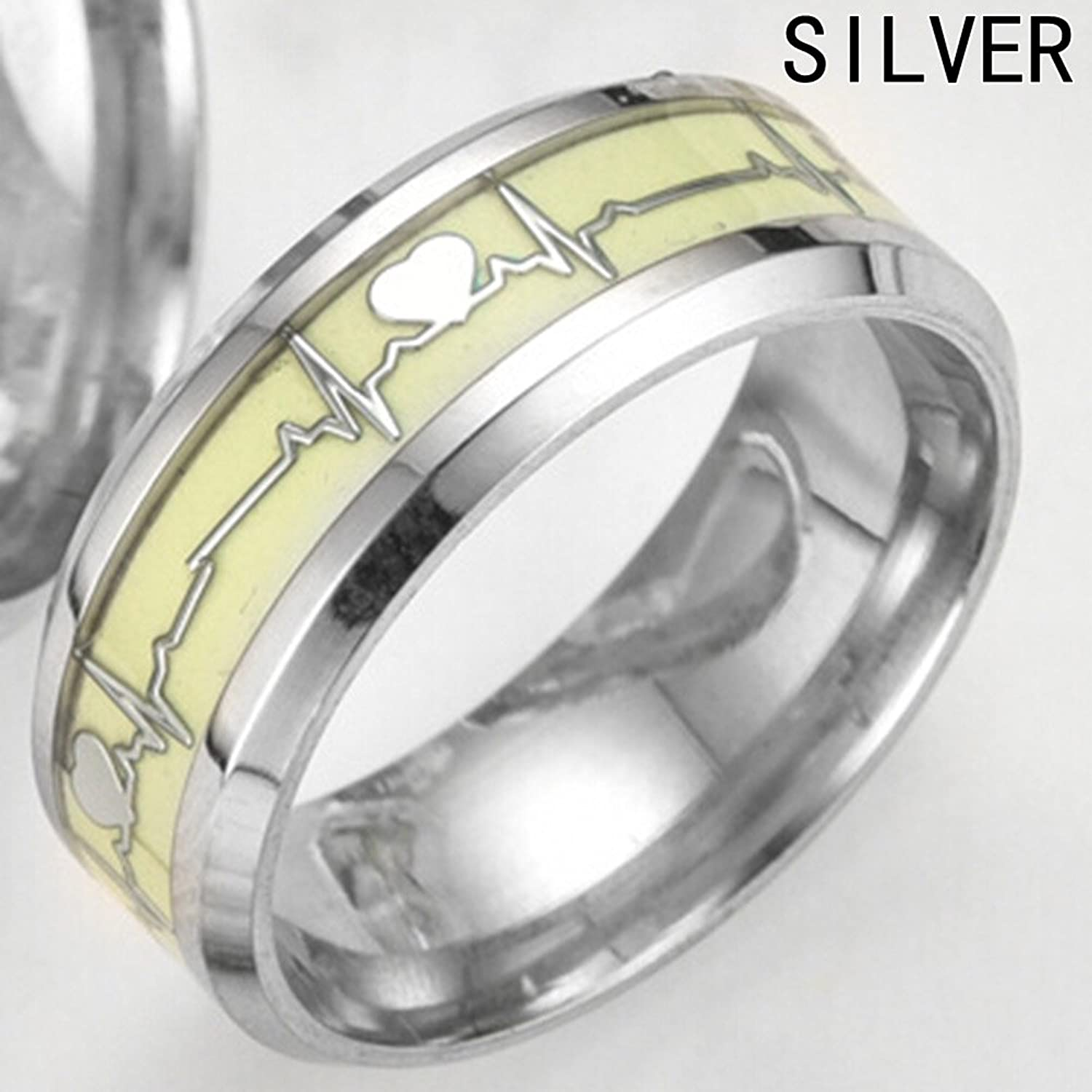 Feixingjewelry Glow in the Dark Silver Heartbeat Titanium Stainless