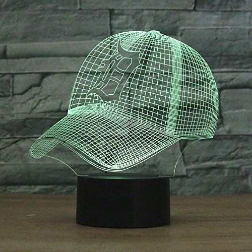 Detroit Tigers Table Lamp - Night Lights for Children,Detroit Tigers Baseball Cap 3D Colorful Touch LED Table Lamp 3D Lights Visual Lamp