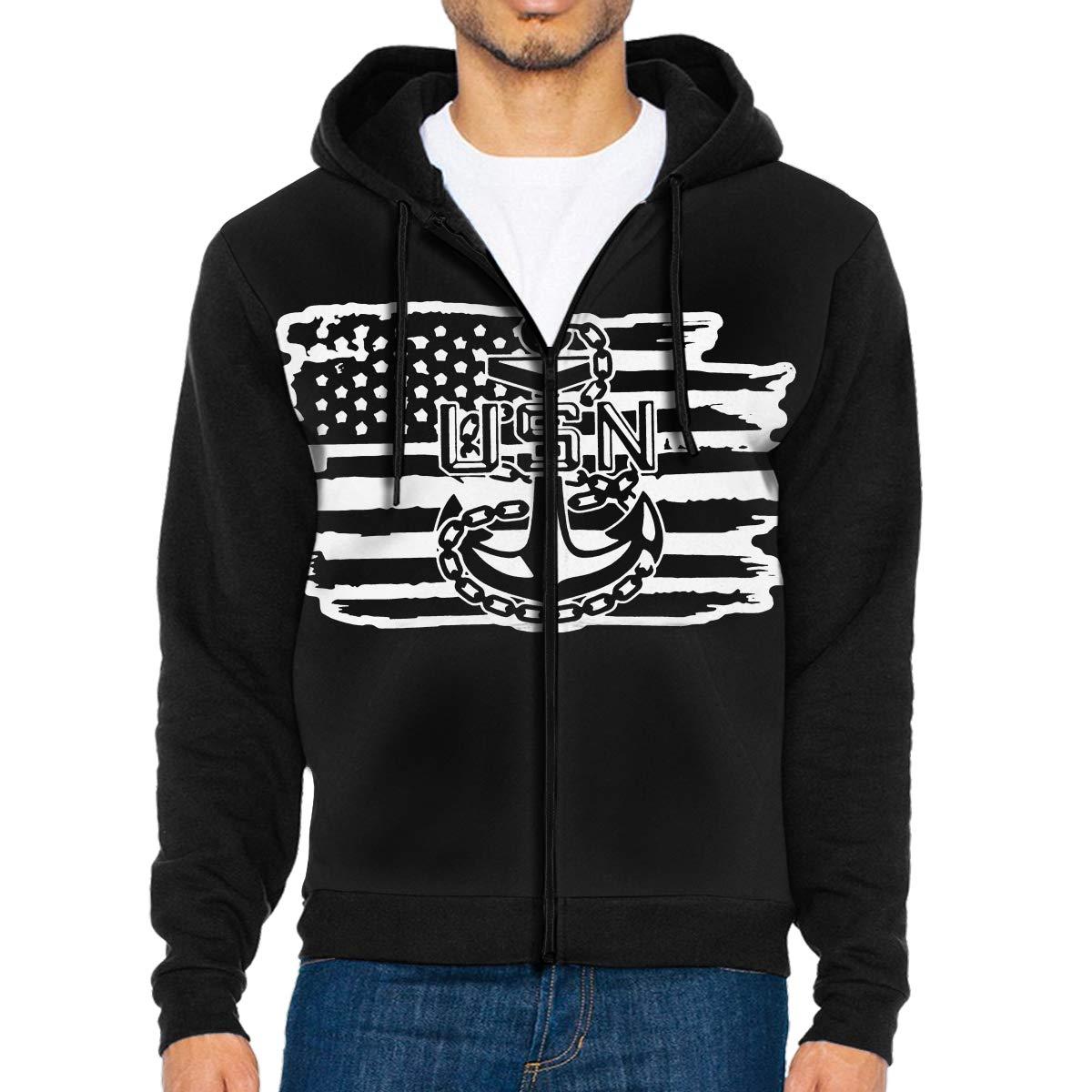 American Flag Navy Veteran USMC Air Force Mens Full-Zip Up Hoodie Jacket Pullover Sweatshirt