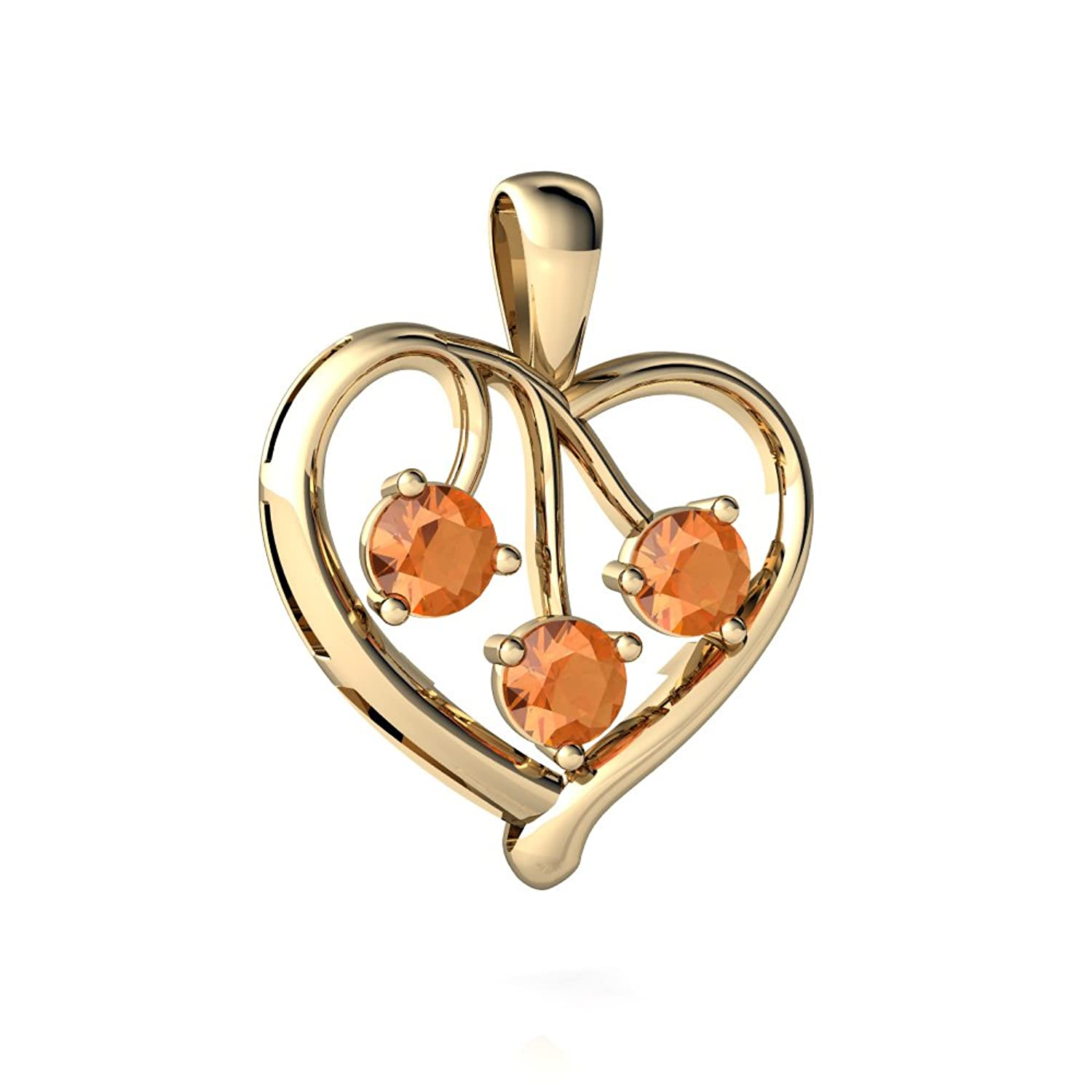14kt Gold Fire Opal 3.5mm Round Glowing Heart Pendant