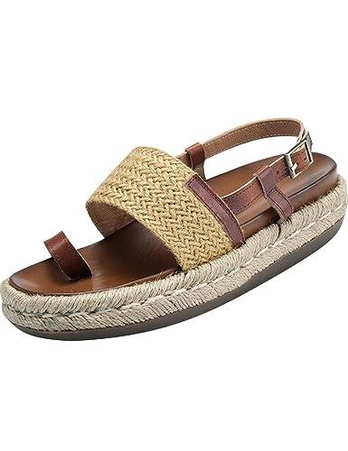 Youlee Damen Sommer Weben Leder Hausschuhe Sandalen