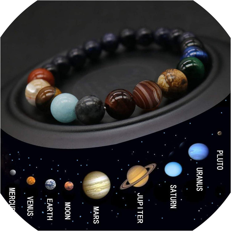 azalea store Pulsera Chakra Solar 2019 Ocho Planetas de Bolas de Piedra Natural Pulsera Hombres Universo Yoga para Hombres Joyería