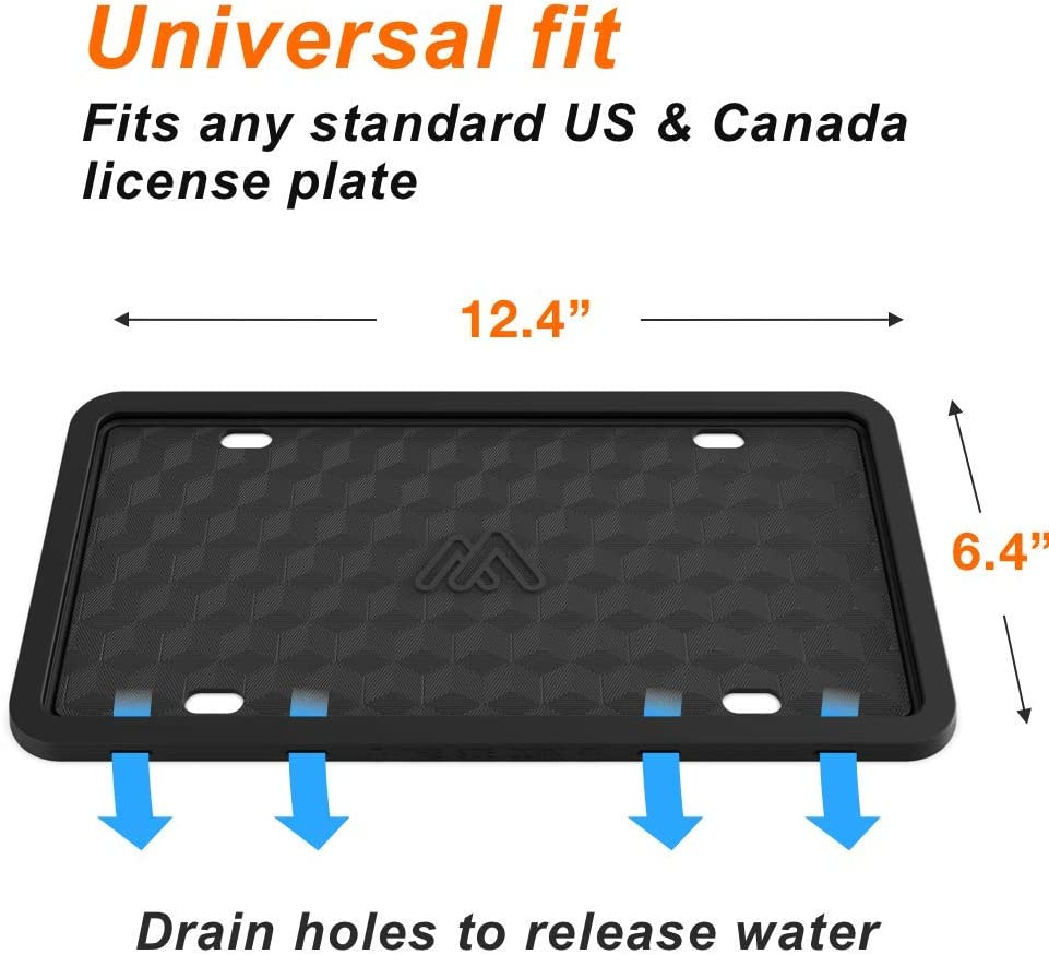 Weather-Proof 2 PCS License Plate Holder Car License Plate Rust-Proof Two Peak Silicone License Plate Frame with Black Stainless Steel Screws Rattle-Proof Black