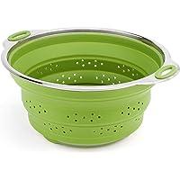 iNeibo Kitchen scolapasta/scolatutto, scolapasta pieghevole in silicone di alta qualità con un design moderno, 100% silicone alimentare Termoresistente privo di BPA, colore (Verde)