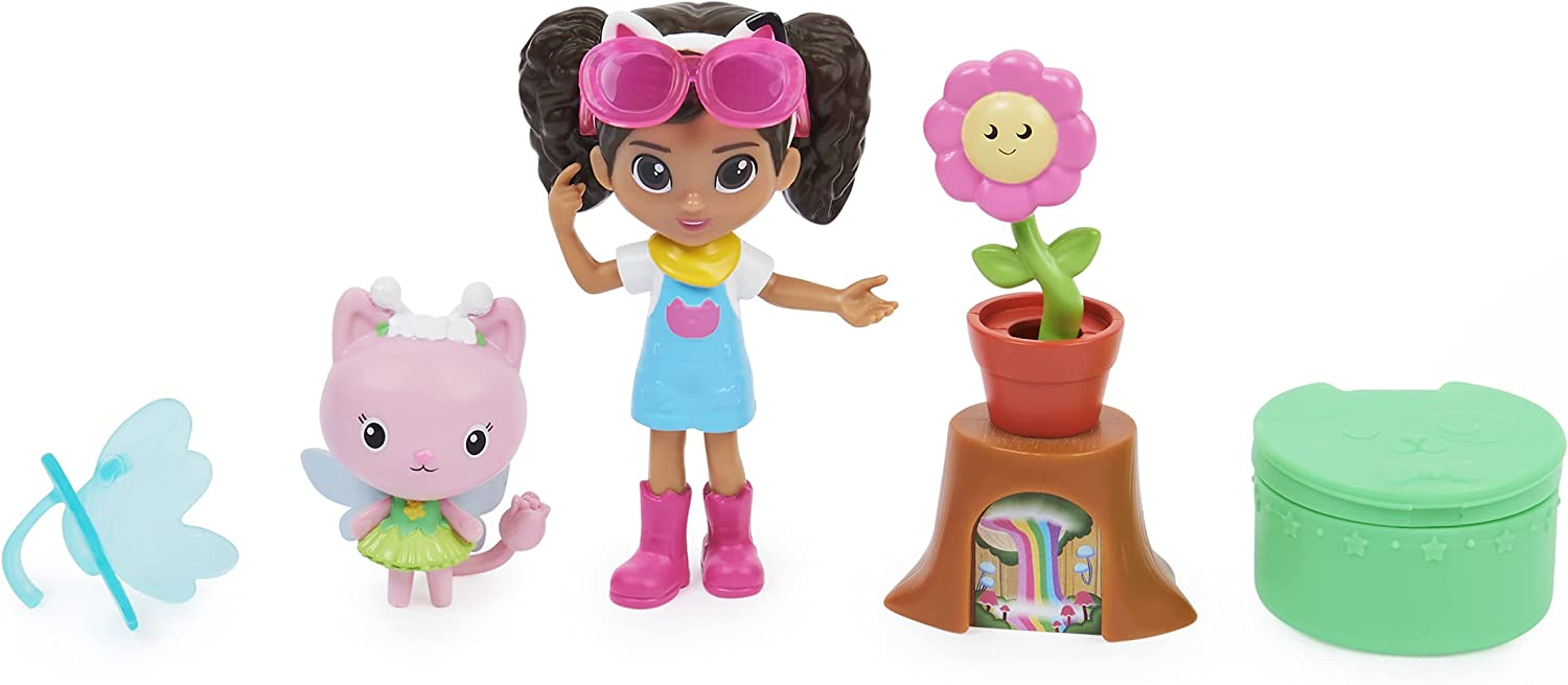 Gabby's Dollhouse, Flower-rific Garden Set with 2 Toy Figures, 2 Accessories, Delivery and Furniture Piece, Kids Toys for Ages 3 and up