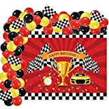 Auihiay 79 Pieces Race Car Party Decorations Set Include 66 PCS Race Car Balloons Garland Kit, 12 PCS Checkered Racing Flags, 1 PCS Racing Red Photo Background