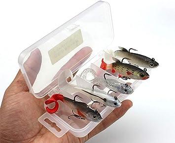 Conjunto de 5 Piezas Pescar Señuelos Cebos Cebo Suave con la Caja de Pesca Cabeza de