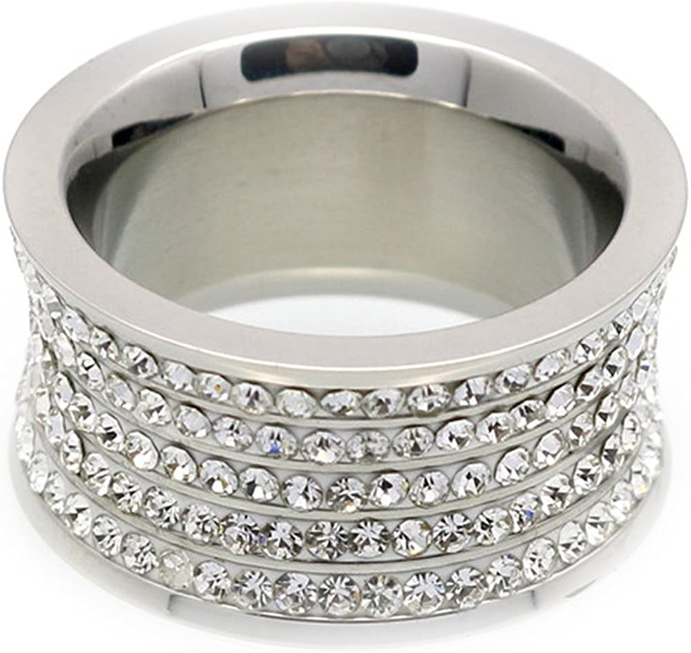 F/&F Ring Fashion Silver Ring White 5 Row Cubic Zirconia For Women Wedding Engagement Rings