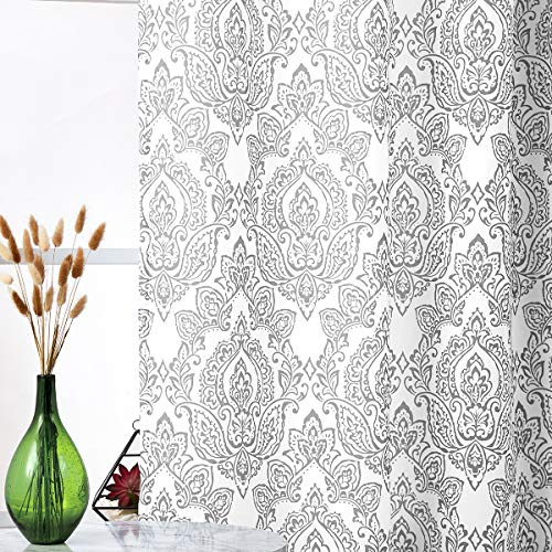 White Grey Curtains for Living Room 84 Inch Long Damask Print Curtains Classic Floral Pattern Window Curtain Panels for Bedroom with Total Privacy Grommet Top 2 Pcs