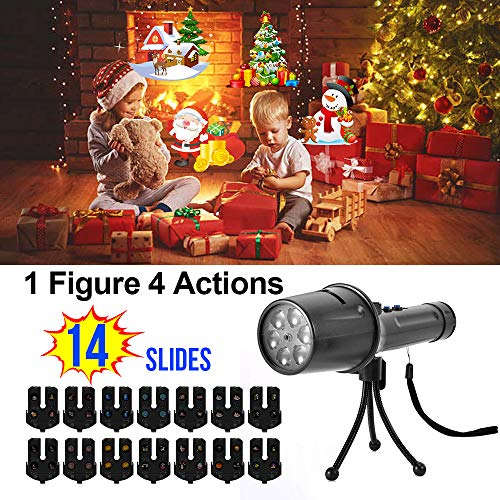 Holiday Led Projector Light, Elec3 14 Slides Christmas Projector Light Portable Handheld Flashlight with Dynamic and Static Images, Halloween, Easter, Birthday Party Decoration Xmas Gift for Kids