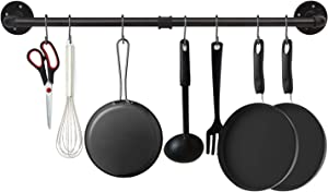 EGASON 34.3 inch Industrial Pipe Pot Bar Rack with 15 S Hooks Rustic Iron Pots and Pans Hanging Rail Pipe Towel Holder Wall Mounted Detachable Kitchen Utensil Pot Pan Lid Organizer Black