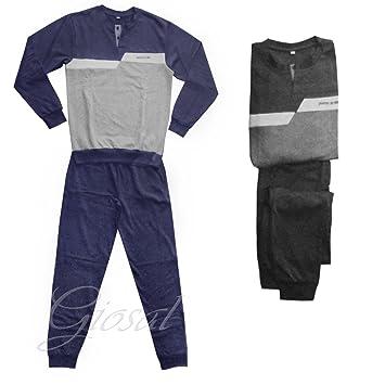 Pijama Hombre Sudadera Botones Bicolor manga larga cuello redondo Varios colores bolsillos Pierre Cardin GIOSAL,