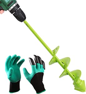 """UGarden Bulb & Bedding Plant Auger, with Garden Genie Gloves, Garden Plant Flower Bulb Auger 2"""" x 9"""" Rapid Planter, Non-Slip Hex Drive fits Any 3/8-inch Drill."""