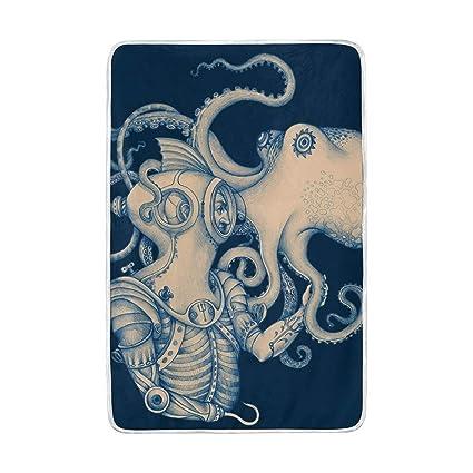 2bd495351089 Amazon.com: Lilibeely Ultra Soft Microplush Velvet Octopus Pattern ...