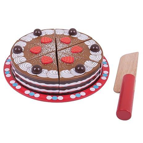 Amazoncom Bigjigs Toys Wooden Chocolate Cake with Cake Cutter