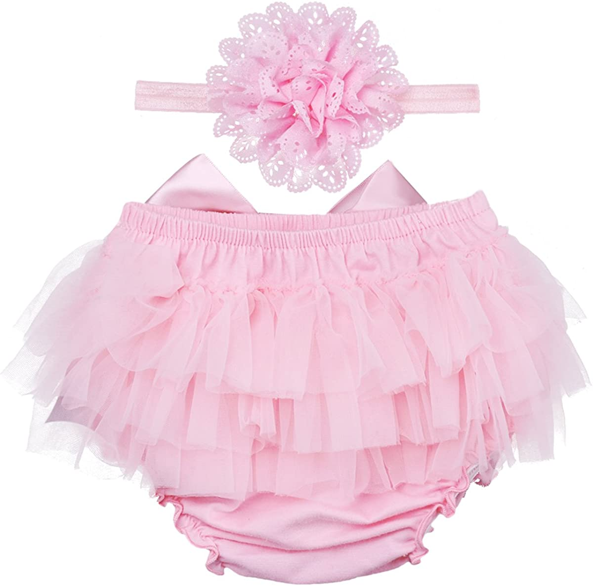IWEMEK 3PCs Newborn Baby Girls 1st Birthday Cake Smash Romper Jumpsuit Bodysuit Tutu Skirt Dress Party Headband Outfits
